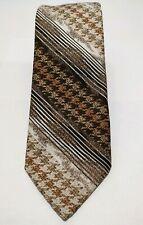 """Vintage 50s Pauline Trigère tie tweet Stripe polyester brown necktie Usa 65"""""""