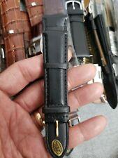 Genuine Leather Watch Band Watch Strap Wristwatch Belt Pin Buckle 22m XL BLACK .