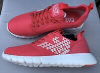 EMPORIO ARMANI EA7 Pink Trainers Sneakers Runners Logo Design Size UK 8 BNIB