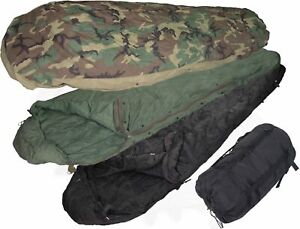 NEW WITHOUT TAGS USGI MILITARY ISSUE 4 PIECE MODULAR SLEEP SYSTEM MSS WOODLAND