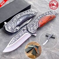 Folding Pocket Knife Damascus Wood Handle Tactical Knife Survival Outdoor Knives