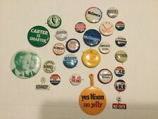 25 Eisenhower, Kennedy, Johnson, Carter buttons, Presidential campaign