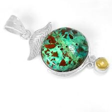 8.52 Gm 925 Sterling Silver Natural Hand Made Chrysocolla Citrine Pendant Jewelr