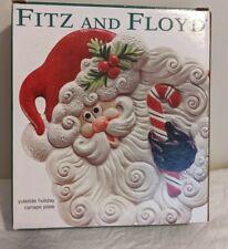 "Fitz & Floyd ""Yuletide Holiday"" Santa Face Canape Plate Christmas"