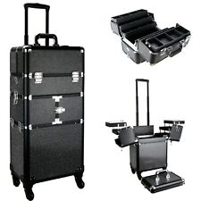 Professional Rolling Train Makeup Case Cosmetic Organizer in Black Crystal by VB