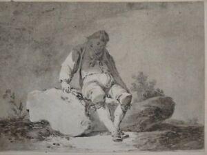 Mann auf einem Felsen sitzend - lavierte Tusche-Zeichnung - Tracht Genre - 1830