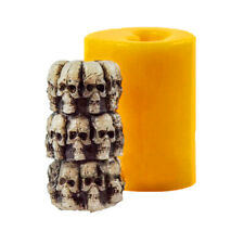 S9302 Halloween Skull Head Shaped Silicone Candle Mold Cylinder Multi-head Theme