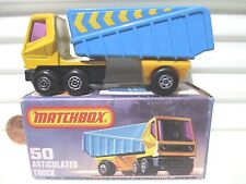 Lesney Matchbox 1978 MB50C Blue + Yellow Articulated Truck Stripe Labels MintBxd