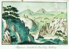 1825 Brühl Mödling Kolorierte Kupferstich-Ansicht Volkmann