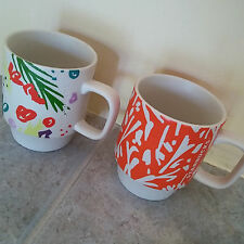 Floral Designed Lot of 2 Mugs by STARBUCKS Coffee Tea Hot Chocolate Soup 12 oz