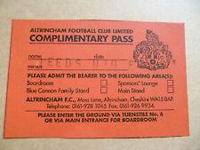 Ticket- COMPLIMENTARY PASS, LEEDS UNITED FC ~ Altrincham Football Club