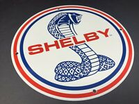 "VINTAGE SHELBY COBRA MUSTANG 11 3/4"" PORCELAIN METAL CAR TRUCK FORD GAS OIL SIGN"