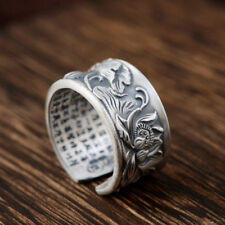 Solid 925 Sterling Silver Buddhist Mantra Lotus Flower Adjustable Ring New Yoga