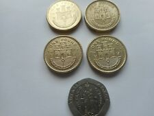 JOB LOT @ 5 GIBRALTAR COINS - 4 @ £1 AND 1 @ 20p COIN - DATES VARY.