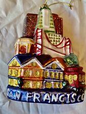 Painted Building City Scape Bridge Glass Christmas Ornament Travel San Francisco