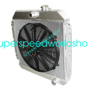 """Aluminum Racing 3 Row Radiator+16"""" Fans fits 49-52 Chevy Styleline V8 MT"""