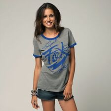 Fox Racing Fox Girl Winning Run Ringer Tee Shirt Heather Graphite (Small)