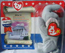 2000 Original Ty Teenie Beanie Baby RIGHTY the ELEPHANT Mcdonalds SEALED Exlnt