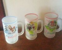 3 Vintage Germany, Italy, Sweden Frosted Glass Bier Beer Mug Hand Painted