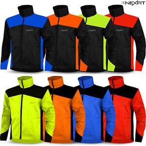 Mens Cycling Rain Jacket Waterproof Raincoat Hi Visibility Running Full Sleeves
