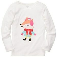 New Carter's Applique Fox Long Sleeve Off White Top Tee Size 2T NWT Girls Cute!