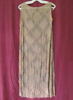 1920s ANTIQUE LADIES SILK LONG DRESS w/ BEADS EMBROIDERY