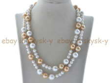 36'' 6-7mm White Natural Freshwater Pearl 12mm White Yellow Shell Pearl Necklace