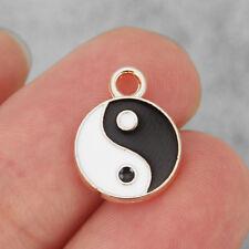10x Gold Tone Feng Shui Bagua Yin Yang Tai chi Round Charm Pendant for Jewelry
