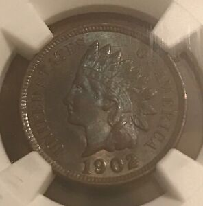 1902  Indian  cent , uncirculated, NGC MS 62