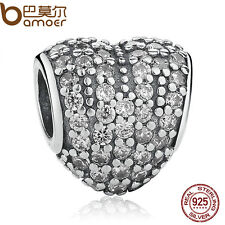 Authentic S925 Sterling Silver White Crystal Heart Charms Fit European Bracelets