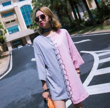 Women's Summer Human skeleton Print T-shirt Harajuku Punk Irregular Mosaic Dress