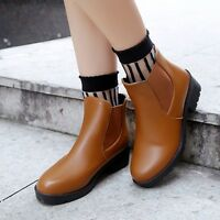 New Round Toe Low Heel Pull On Ladies Womens Ankle Boots Chelsea Boot Shoes En61