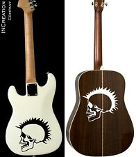 Punk Rocker Skull Guitar Vinyl Stickers Rock Band Vinyl Decals Bass Guitar (x2)