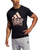 Adidas Mens T-Shirt Black Size 2XL Logo Graphic Printed Crewneck Tee #138
