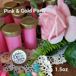 10 PINK Party Table Event Jars Favor Pill Bottle Gold Lid Cap USA New Birthday