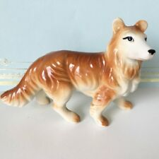Smooth Collie Brown White Dog Standing Vintage Figurine