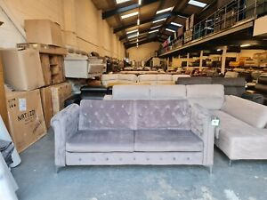 Ex-display grey velvet fabric buttoned back click clack sofa bed