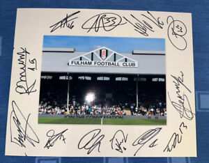 Fulham FC Hand Signed 2021/22  10x8 Photo Mount Display, COA Signed By 11 E