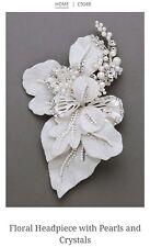 David's Bridal Floral Headpiece w/ Pearls & Crystals, C9048, Silver ($189.95)