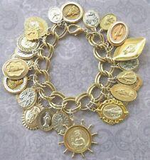 New Vintage 12 Catholic St. Rita Teresa OL Guadalupe Mary Medals Charm Bracelet