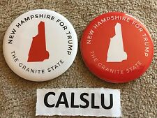 SET OF (2) DONALD TRUMP ☆OFFICIAL☆ NEW HAMPSHIRE ☆CAMPAIGN RALLY☆ PIN BUTTONS