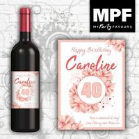 Personalised Birthday Wine Bottle Label - Any Name, Age & Message - Flowers