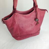 The Sak Leather Red Purse Hobo Shoulder Handbag Slouch Unstructured Tote Bag