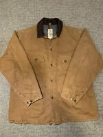 Vintage Carhartt Canvas Brown Duck Flannel Jacket Coat Button Up Size XL