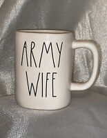NEW Rae Dunn USA Military Collection By Magenta ARMY WIFE Farmhouse Coffee Mug
