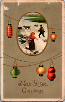 Vintage C. 1910 New Year Greeting Postcard Hunting Pointer Dog Slippery Ice PA