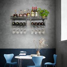 Wall Mounted Metal Wine Rack Holder Home Bar Storage Display Shelf Kitchen Usa