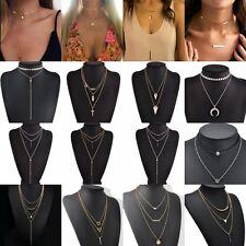 4Pcs Stylish Simple Multi Layer Geometric Stick Triangle Chain Choker Necklace