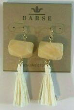 Barse Brand Bronze Yellow Jade Faceted Stone Cream Color Raffia Tassel Earrings