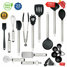 23-Piece Stainless Steel Cooking Utensil Set Spoons Kitchen Tools Heat Resistant